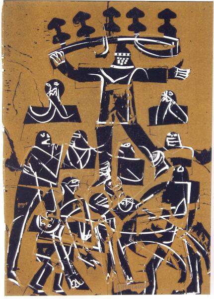 Bild Nr. 11110 — HAP Grieshaber (1909-1981): HAP Grieshaber - Der Engel der Geschichte Nr. 22. 1975