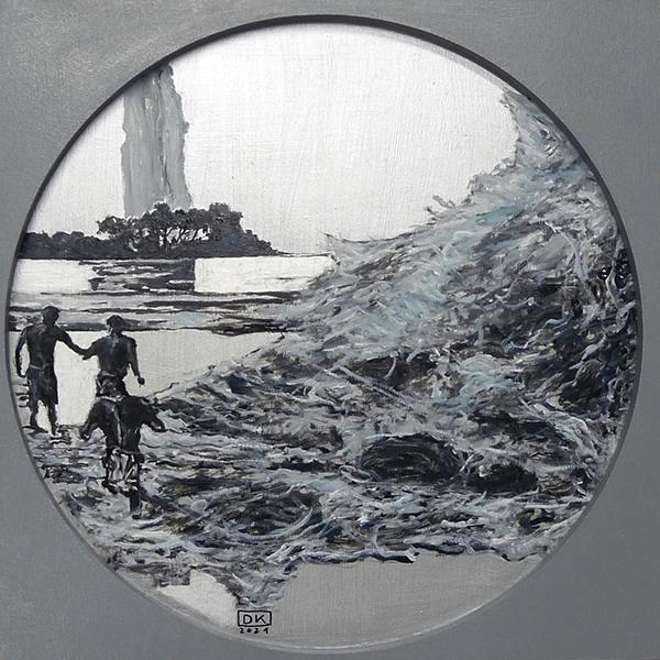 Bild Nr. 17710 — Dirk Klose (*1965): Tondo global: Sambesi-Fischer (Welle) (2021)