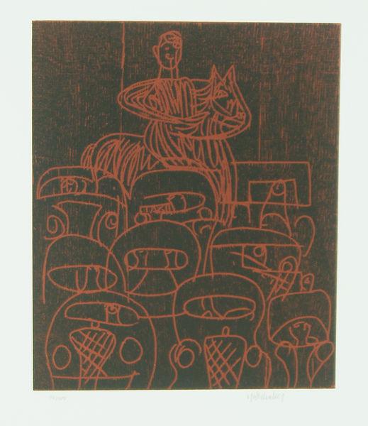 Bild Nr. 2069 — HAP Grieshaber (1909-1981): Reiter auf der Fernstraße (1980)